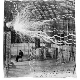 Cortina Para Box Nikola Tesla em sua cortina de chá do laboratório