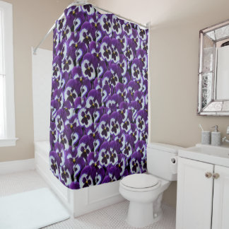 Cortina Para Box Purple_Pansy_Bouqet, _Bathroom_Shower_Curtain