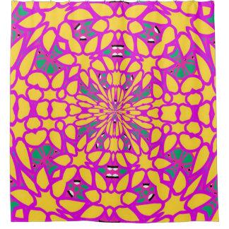 Cortina Para Box Rosa quente & cortina de chá do caleidoscópio de