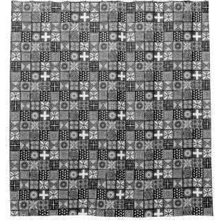 Cortina Para Box Teste padrão de Adire - preto e branco