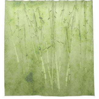 Cortina Para Chuveiro Bambu em um fundo verde desvanecido