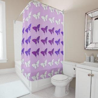 Cortina Para Chuveiro Banheiro Glittery do banho das borboletas roxas do