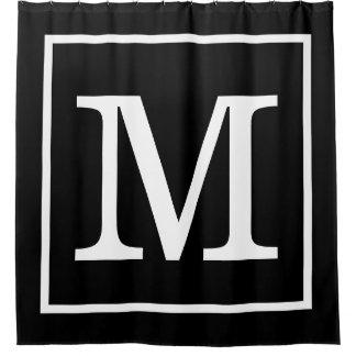 Cortina Para Chuveiro Branco preto monograma inicial quadro do XL