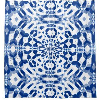 Cortina Para Chuveiro Design azul do caleidoscópio na cortina de chá