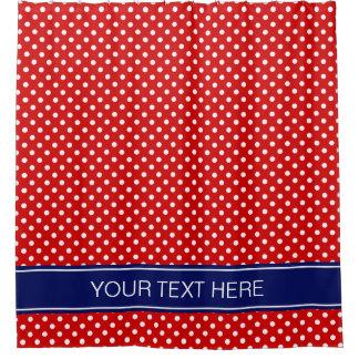 Cortina Para Chuveiro Monograma branco vermelho do nome dos azuis