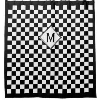 Cortina Para Chuveiro Monograma preto & branco Checkered & da caixa