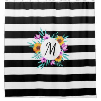 Cortina Para Chuveiro Monograma preto & branco do costume das flores das
