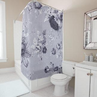 Cortina Para Chuveiro Mulberry Toile floral botânico roxo azul No.4