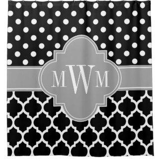Cortina Para Chuveiro O marroquino cinzento #5 da DK do branco preto