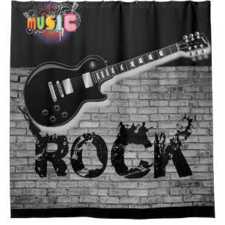 Cortina Para Chuveiro Showercurtain do preto da guitarra da música rock