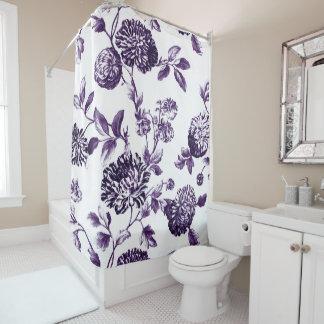 Cortina Para Chuveiro Vintage roxo Toile floral No.2 do Mulberry preto