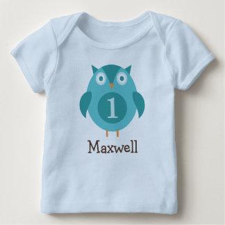 Coruja azul personalizada do t-shirt | do