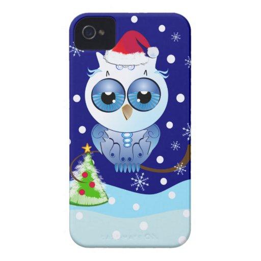 Coruja bonito com a caixa de Blackberry do Natal d Capa iPhone 4 Case-Mate