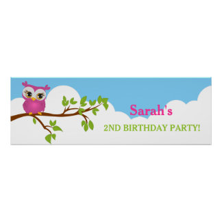 Coruja bonito na bandeira da festa de aniversário pôster