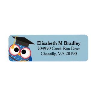 Coruja bonito personalizada da graduação - azul etiqueta endereço de retorno