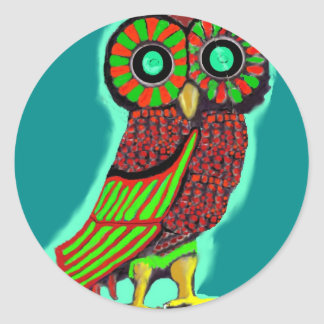 Coruja colorida adesivo