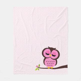 Coruja cor-de-rosa bonito cobertor de lã