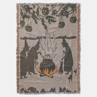 Coruja do caldeirão da lanterna de Jack O da bruxa Throw Blanket