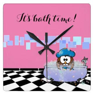 coruja do tempo do banho relógio de parede