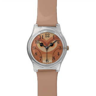 Coruja marrom pequena relógio de pulso