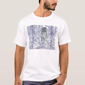 Coruja na neve, aguarela camiseta