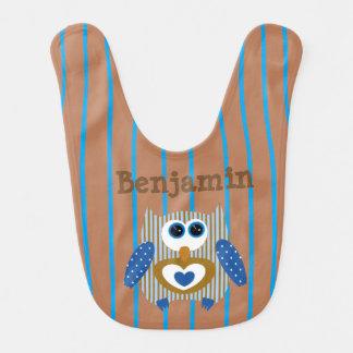 Coruja personalizada Brown azul do babador do bebé