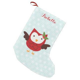 Coruja vermelha do feriado personalizada bota de natal pequena