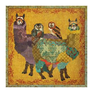 Corujas que montam canvas das alpacas impressão em tela