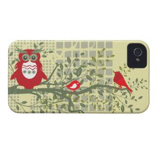 corujas retros & pássaros na caixa corajosa da capas para iPhone 4 Case-Mate