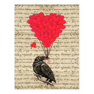 Corvo do vintage e balões dados forma coração cartão postal
