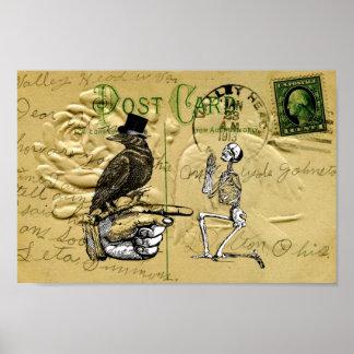 Corvo e esqueleto pôster