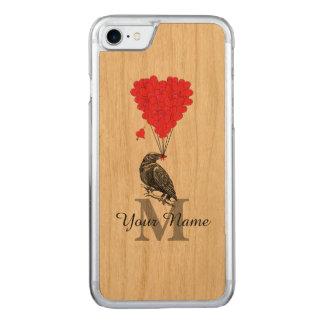 Corvo e monograma vermelho do coração capa para iPhone 7 carved