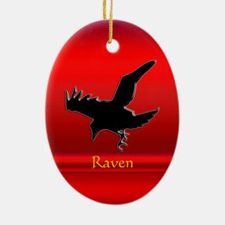 corvo preto do Gravar-olhar no cromo-efeito Ornamento De Cerâmica Oval