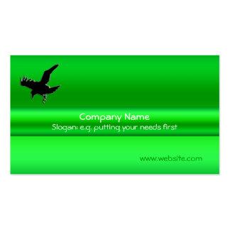 Corvo preto no metálico-efeito verde cartões de visitas