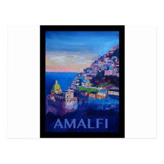 Costa retro Italia de Amalfi do poster Cartão Postal