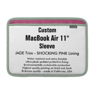 """Costume 11"""" jade & rosa da luva de ar (h) de bolsa para MacBook air"""