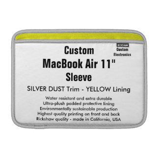 """Costume 11"""" prata & amarelo da luva de ar (h) de bolsas para MacBook air"""