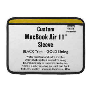 """Costume 11"""" preto & ouro da luva de ar (h) de bolsa para MacBook air"""