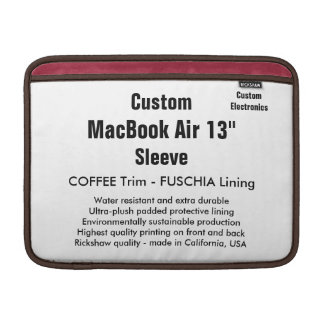 "Costume 13"" café & Fuschia da luva de ar (h) de Bolsa Para MacBook Air"