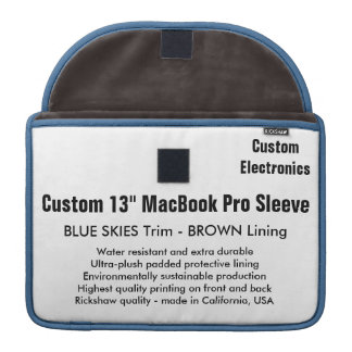 """Costume 13"""" céus azuis & Brown da luva de MacBook Bolsas Para MacBook Pro"""