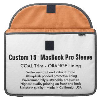 "Costume 15"" luva de MacBook Pro - carvão & laranja Bolsas Para MacBook"
