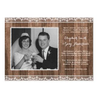 Costume branco rústico da foto do casamento do convite 12.7 x 17.78cm