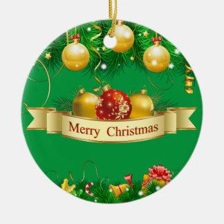 Costume da alegria do Feliz Natal Ornamento De Cerâmica Redondo