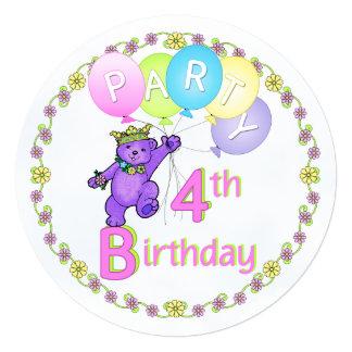 Costume da festa de aniversário do urso da convites personalizado
