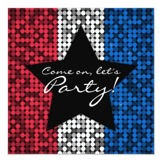 Costume Glam branco & azul vermelho Convite Quadrado 13.35 X 13.35cm