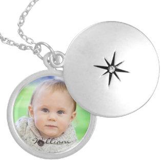 Costume seu locket personalizado foto do nome do b colar banhado a prata