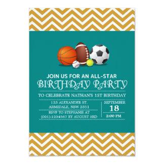 Costume uma festa de aniversário All-star do Convite 12.7 X 17.78cm