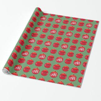 Costume verde vermelho dos enfeites de natal do papel de presente