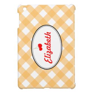 Costume vermelho da cereja do teste padrão alaranj iPad mini capa