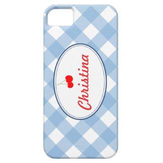 Costume vermelho da cereja do teste padrão azul do capas iPhone 5